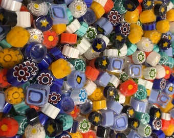 NEW Mix! Millefiori Glass Slices, Translucent Assortment, 2 Oz (56 grams), Lampwork, Mosaic, Fusing, coe104 from ITALY