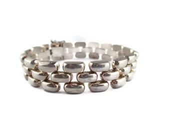 Panther Link  Bracelet/ Retro 925 Sterling Silver Italy / Brick Weave Silver Bracelet / Machine Age Bracelet