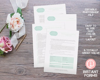 Wedding Photography Contract and Forms - IF013 - INSTANT DOWNLOAD. You'll receive 4 psd files