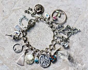 Charm Bracelet, Silver, Jennifer Jones, OOAK, rhinestone, flower, pearl, Boho, Reclaimed, Unique, OOAK, Peace, Ballerina,  - Tiny Dancers