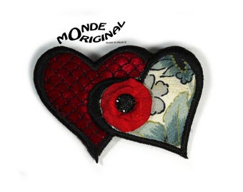 Hearts you silk and me poppy brooch