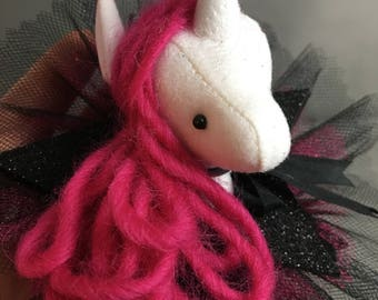 Unicorn Barrette, Magical Glitter Faux Vegan Taxidermy Fascinator, hot pink black soft sculpture, plush animal hair accessory, brooch, pin b