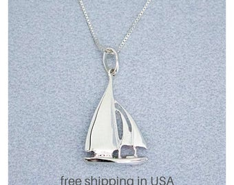 Sailboat Nautical Sterling Silver Necklace, FREE SHIPPING, Boat Yacht Charm, Vacation Beach Ocean Sailing Jewelry, Sail Boat Pendant Gift