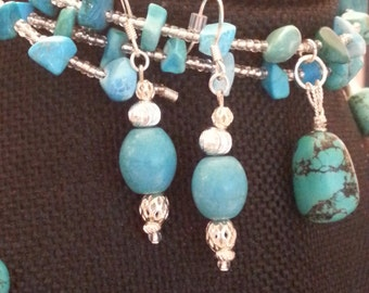 Handcrafted Turquoise and silver beaded dangle earrings