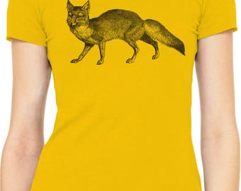 Austin Ink Apparel Slim Fit Corsac Fox Womens Supersoft Soft  Short Sleeve T-Shirt