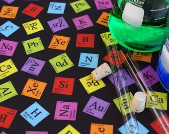 Periodic Elements (Dark) Chemistry Science Cotton Fabric Fat Quarter