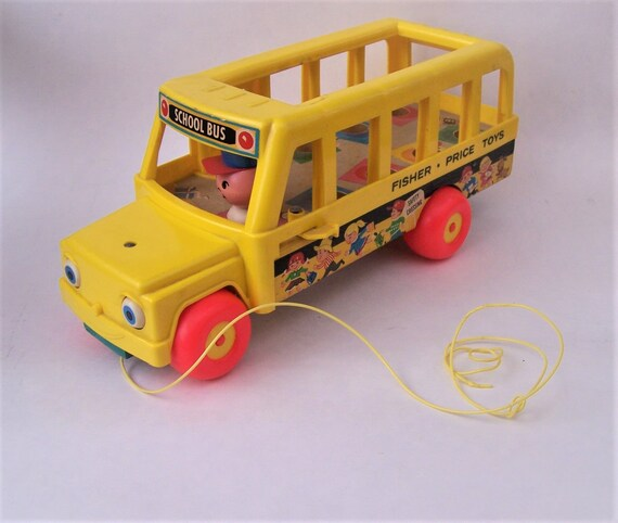 Vintage 1960s Fisher Price Little Peoples Yellow School Bus