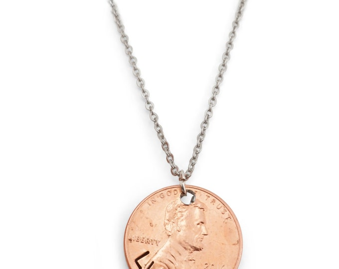 Lucky Penny Necklace - 2016 Lucky Year - Stamped Penny - Penny Necklace - Lucky charm necklace