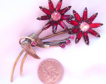 Massive 4 Inch Flower Brooch Pin, Ruby Red Rhinestones, Vintage 1950s Floral Jewelry for Mother's Day