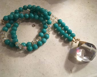 Teal Necklace - Jade Jewelry - Long - Statement - Gold - Gemstone Jewellery - Chunky - Fashion - Trendy