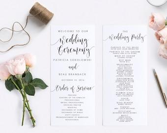 Wedding Program Template, Instant Download, Digital Calligraphy, Editable PDF, Printable Template, Wedding Template, Program-#SN022_P