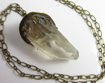 Natural Quartz Crystal Necklace in Brass