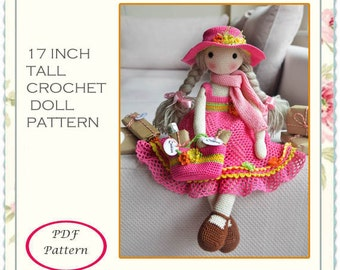 CROCHET DOLL PATTERN, 17 Inch tall crochet doll full pattern
