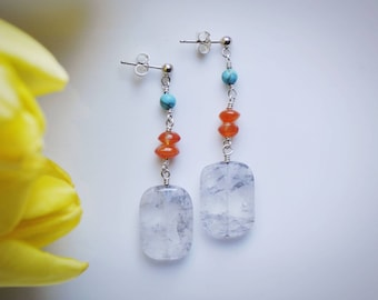 Turquoise, carnelian & misty quartz dangle earrings
