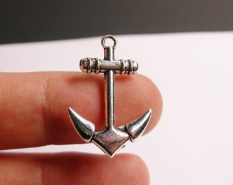 Anchor charms - 12 pcs - hypoallergenic -  silver Anchor charms -  ASA6