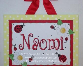 Ladybug, Canvas name sign, Nursery wall art, Ladybug Daisy, Custom wall art, Ladybug nursery, red, yellow, ladybug wall art, Personalized