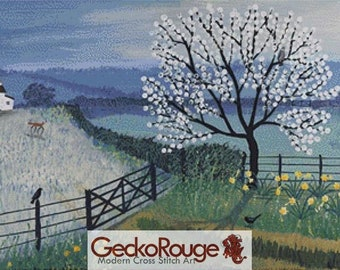 Spring Cross Stitch Kit, 'Spring Moon' ,Jo Grundy, Counted Needlecraft Kit with DMC materials, Horse Cross Stitch, Point De Croix