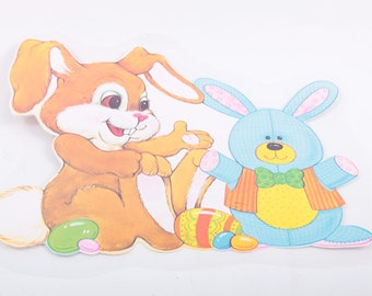 Vintage Large Window Decal Cardboard Easter Bunny ~ The Pink Room ~ 160921