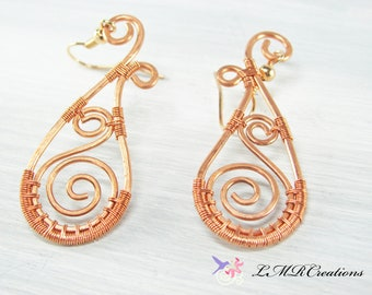 Hammered Copper Teardrop Earrings,  Wire Wrapped Dangle Earrings, Bohemian Pierced Ear Earrings