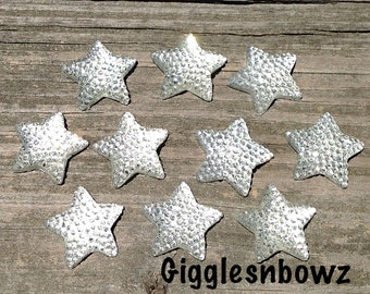 4th of July Embellishments- ReSIN GLiTTER STARS 16mm- Clear Stars- Headband Supplies-Diy Supplies-Scrapbooking Supplies- 10 piece