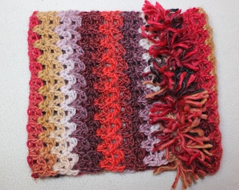 Snuggly cowl: crocheted warm scarf, present for partner, wife, girlfriend, tassles