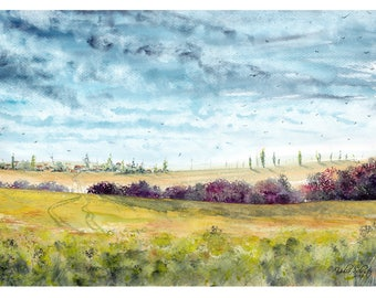 ORIGINAL watercolor painting. My Fields 2. From the series of my watercolor lanscapes.