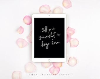 TWO Styled Stock Images | Portrait & landscape iPad Mockup | Rose Petals with iPad on White Background  | Styled Photography | Digital Image