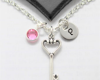 Heart and Key Necklace - Heart Key Necklace - Key To My Heart Necklace - Love Themed Jewelry - Gifts for Her