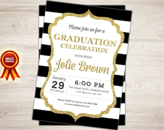 Graduation Invitation. Black Gold Graduation Party Invite. Printable Grad Celebration. College Graduation Invite. High School Graduation