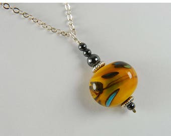 Orange Lampwork Necklace Earthy Necklace Boho Jewelry Orange Necklace Earthy Jewelry Gifts