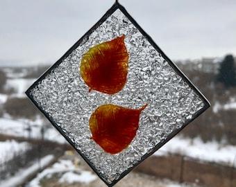 Fused glass, sun catcher, handmade fused glass, home decor, glass, art, Aspen leaf, leaf sun catcher, window art, ornament, leaf