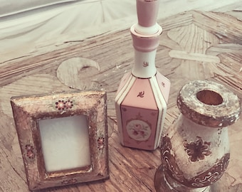 Rare lot of rachel ashwell shabby chic couture Florentine would candleholder frame and porcelain pink rose perfume bottle