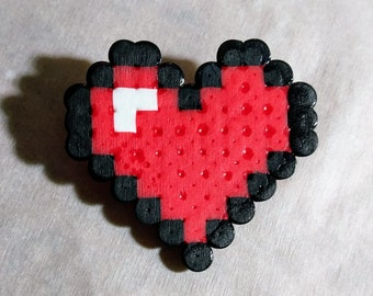 Pixel Heart Container Pin From The Legend of Zelda Made With Perler Beads