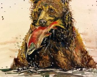 "Original Watercolor painting, Bear Fishing, 1804128, 10""x8"""