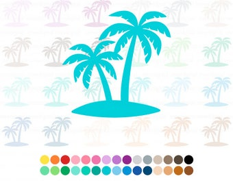 Palm Trees, Digital Palm Tree Clipart, Multiple Colors, 30 Colors, Double Palm Tree Art, Digital Two Palm Trees, Instant Download PNG