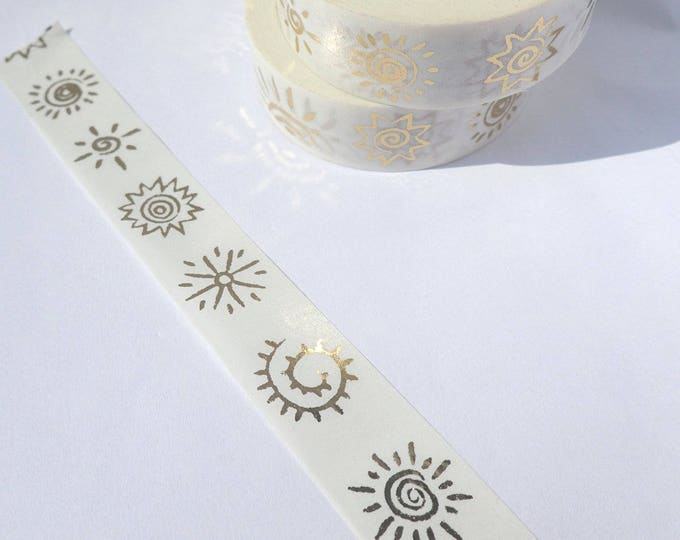 Primitive Suns Foil Washi Tape - Cave Paintings Paper Tape Great for Scrapbooking Paper Crafts and Mixed Media - 15mm x 10m