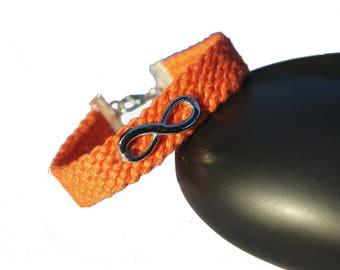 """Cuff friendship bracelet, model """"Infinity"""", orange"""
