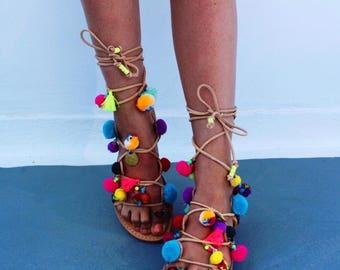 Rainbow pompom tie up gladiators, greek leather gladiators, pom pom sandals, boho sandals, boho leather sandals