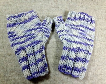 Fingerless Gloves for toddler white lilac, mittens wool merino, arm warmers