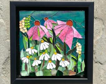 Mosaic Wall Art Gift~Flower Wall Art~Glass Flower Wall Home Decor~Custom Mosaic Art~Made-To-Order mosaic glass art~Garden Mosaics