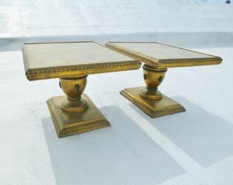 Vintage Pair of Hollywood Regency Gold Leaf Side Tables