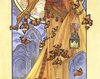 Art Print Lady of November Veiled Woman with Butterflies and Chrysanthemums Goddess Birthstone Series Art Nouveau Painting