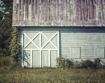 Aqua Grey Barn Landscape, Soft Mint Barn Large Print or Canvas, New York Barn Art, Barn Picture, Charlton New York Barn Picture, Barn Doors.