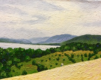 Original Impressionist style Impasto oil painting by Michigan artist, Wayne Arini. 'Almost to the Top'
