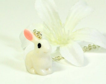 White Rabbit Necklace Snowbunny- Cute Bunny Necklace- Bunny Gift- Pet Bunny Rabbit  Gift for Daughter- Nature Lover Gift- Kawaii Bunny