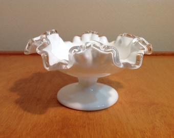 Fenton Bowl  White Milk Glass with Silver Clear Ruffle