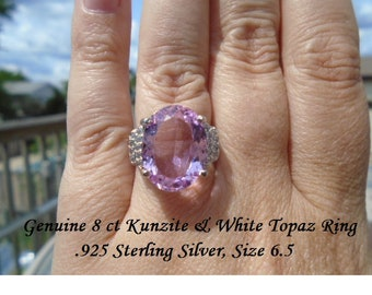 8 ct Kunzite Or Swiss Blue & White Topaz Ring