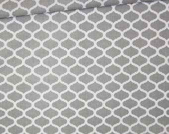 Mini fabric Moroccan lattice, 100% cotton printed 50 x 160 cm, grey and white Moroccan pattern