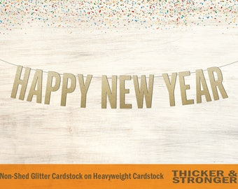Happy New Year Banner, Block Letters - New Years Decorations, New Years Party, Happy New Years Sign, New Years Eve Sign