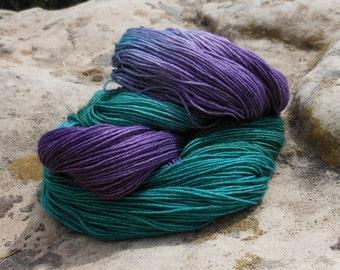 Hand Dyed Superwash Wool Sock Weight Yarn--Gemstone Colorway
